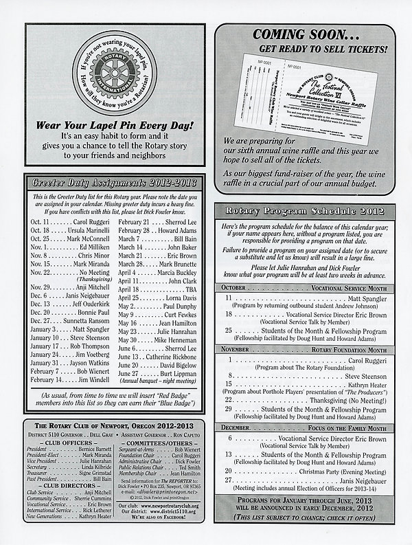 October 11, 2012 Rotary of Newport, Oregon Newsletter.