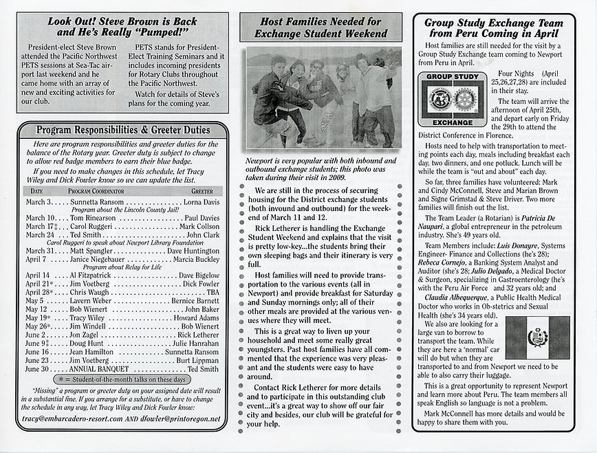 Rotary of Newport, Oregon Newsletter- February 24, 2011