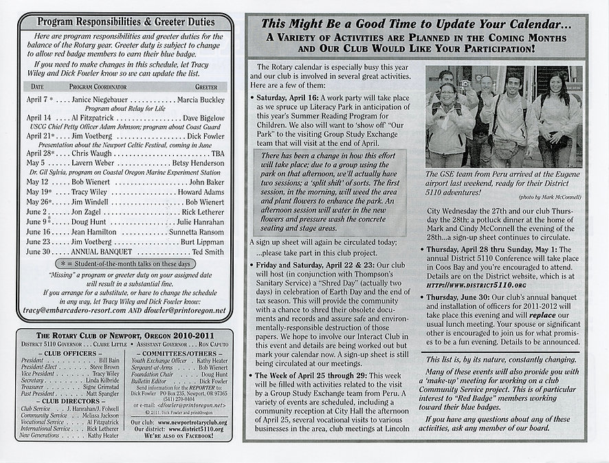 Rotary of Newport, Oregon Newsletter- April 7, 2011
