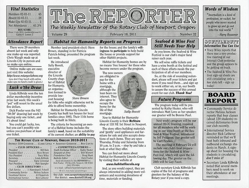 Rotary of Newport, Oregon Newsletter- February 10, 2011