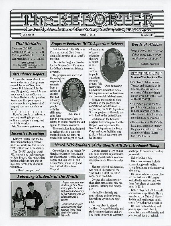 March 7, 2013 Rotary of Newport, Oregon Newsletter