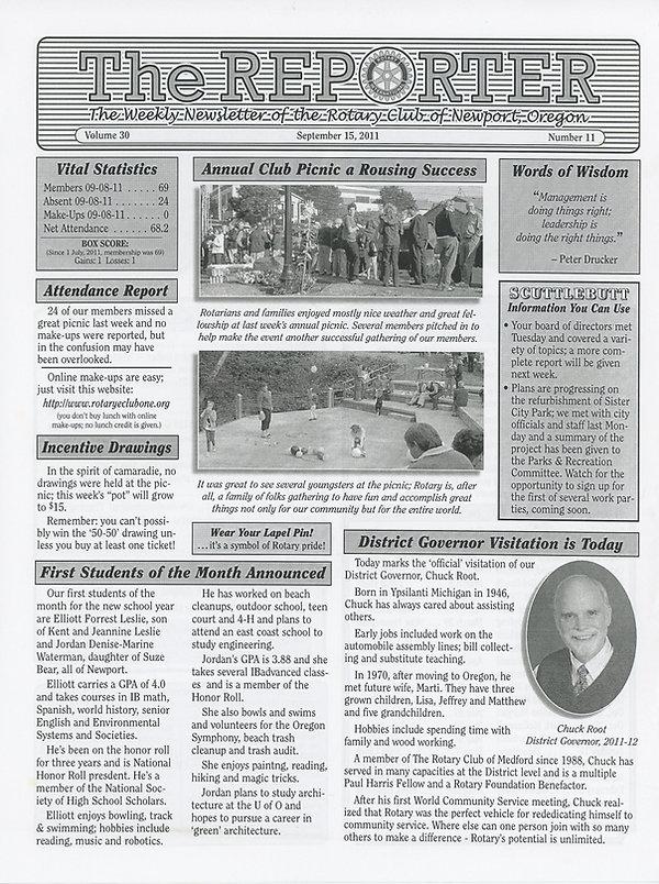 Rotary of Newport, Oregon September 15, 2011 newsletter