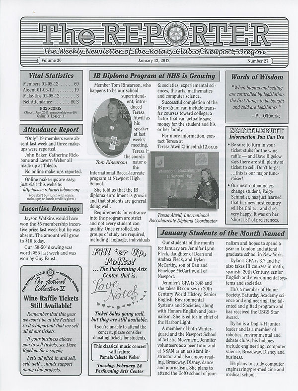 January 12, 2012 Rotary of Newport, Oregon Newsletter