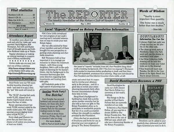 May 1, 2014 Rotary of Newport, Oregon Newsletter