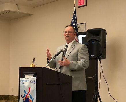 Brian Norris of Bateman Funeral Home speaks at the February 6, 2020 Rotary of Newport meeting.