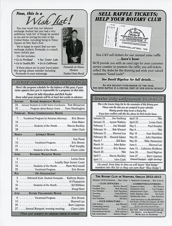 January 24, 2013 Rotary of Newport, Oregon Newsletter