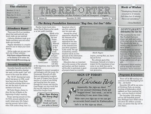 November 21, 2013 Rotary of Newport, Oregon Newsletter