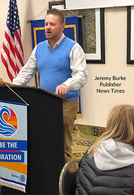 Jeremy Burke, Publisher of the News Times speaks at a Rotary Club of Newport meeting.