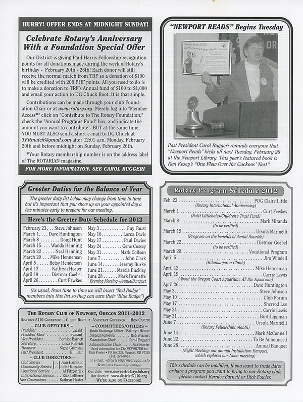 February 23, 2012 Rotary of Newport, Oregon Newsletter