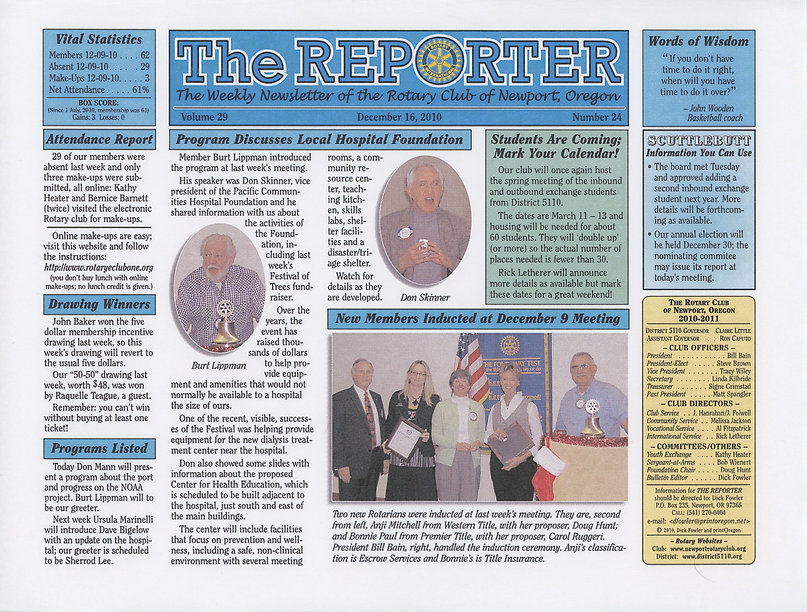 Rotary of Newport, Oregon December 16, 2010 newsletter