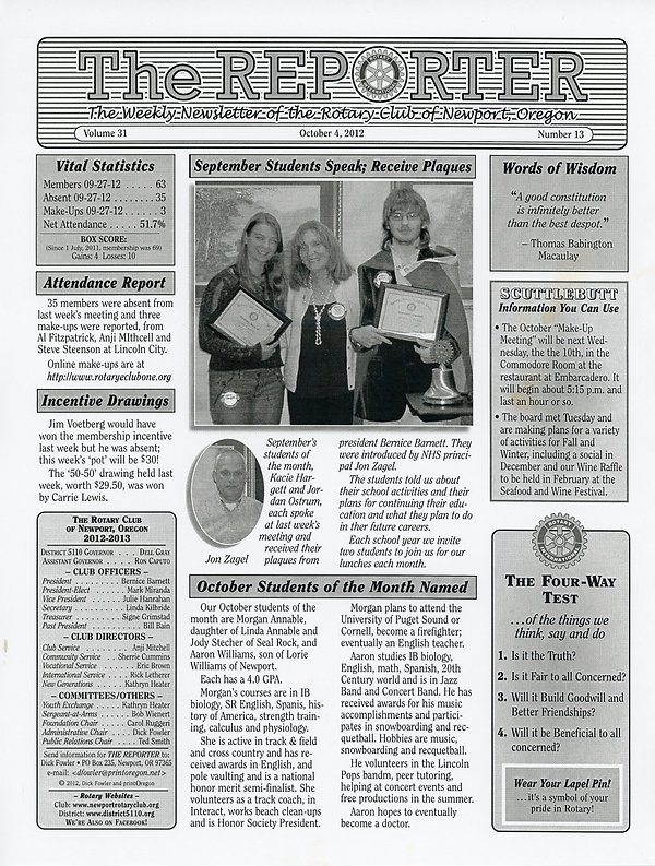 October 4, 2012 Rotary of Newport, Oregon Newsletter.