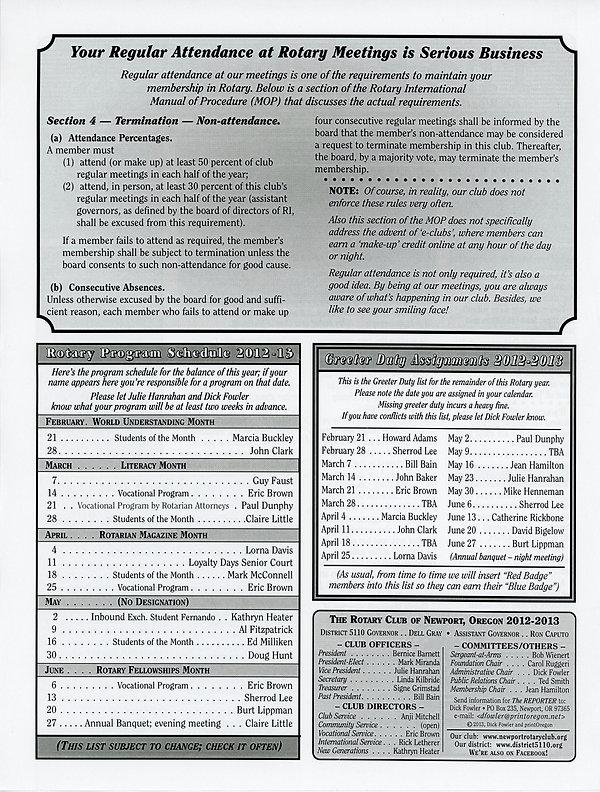 February 21, 2013 Rotary of Newport, Oregon Newsletter