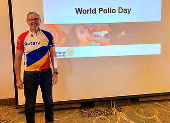 District 5110 Foundation Chairman Tim Mobley speaks at the Rotary Club of Newport, Oregon