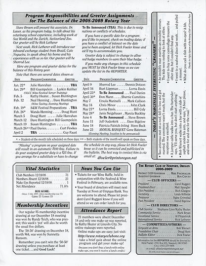 Rotary of Newport, Oregon 1.8.09 newsletter