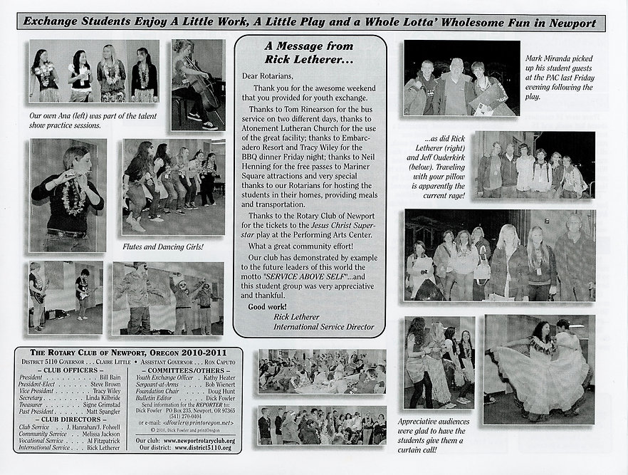 Rotary of Newport, Oregon Newsletter- March 17, 2011