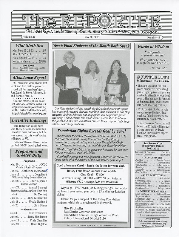 May 30, 2013 Rotary of Newport Newsletter