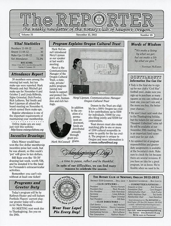 November 15, 2012 Rotary of Newport, Oregon Newsletter.