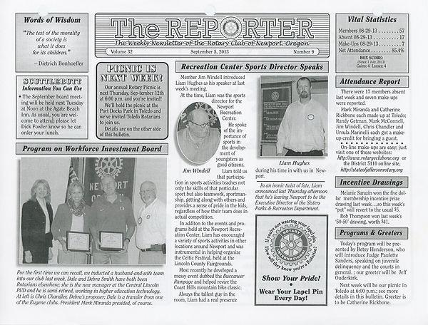 September 5, 2013 Rotary of Newport, Oregon Newsletter