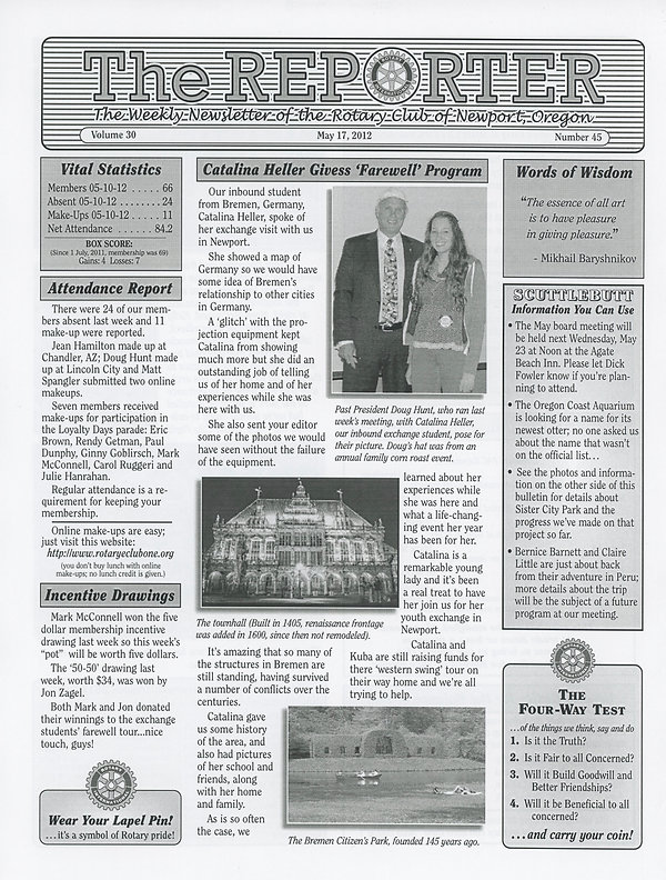 May 17, 2012 Rotary of Newport, Oregon Newsletter