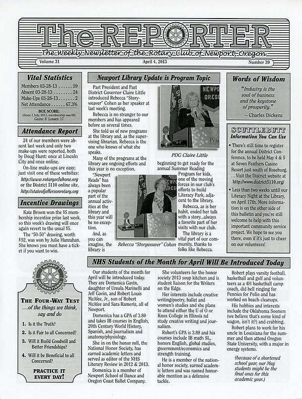 April 4, 2013 Rotary of Newport, Oregon Newsletter
