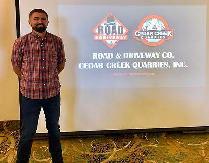 Rob Wienert presented the history of Road & Driveway and Cedar Creek Quarries.