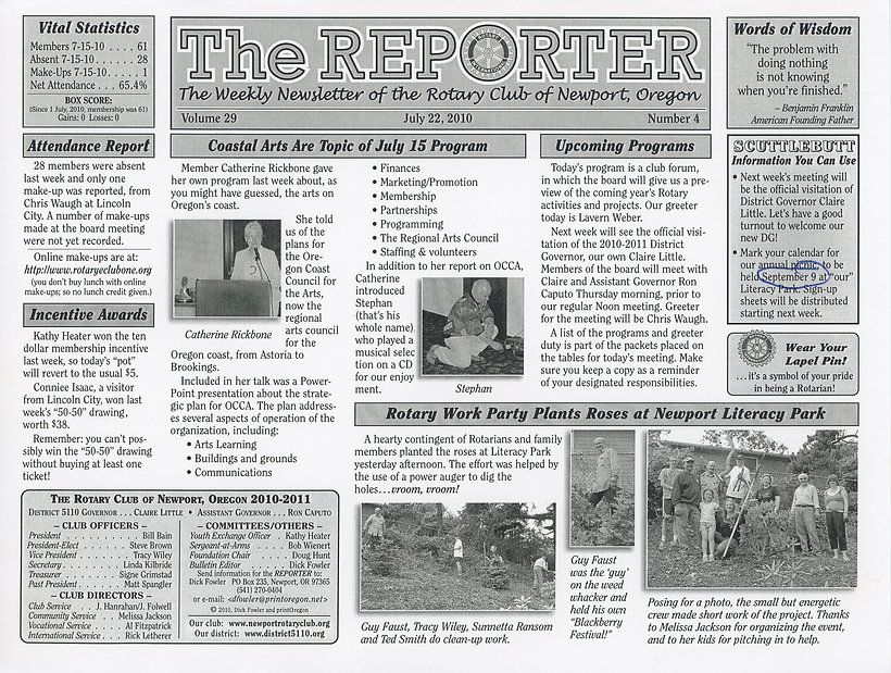 Rotary of Newport, Oregon July 22, 2010 newsletter