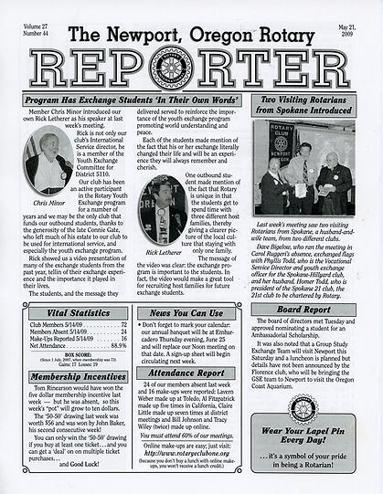 Rotary of Newport, Oregon May 21, 2009 newsletter