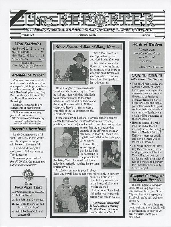February 9, 2012 Rotary of Newport, Oregon Newsletter