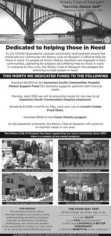 Rotary of Newport Newstimes advertisement published on April 15, 2020.