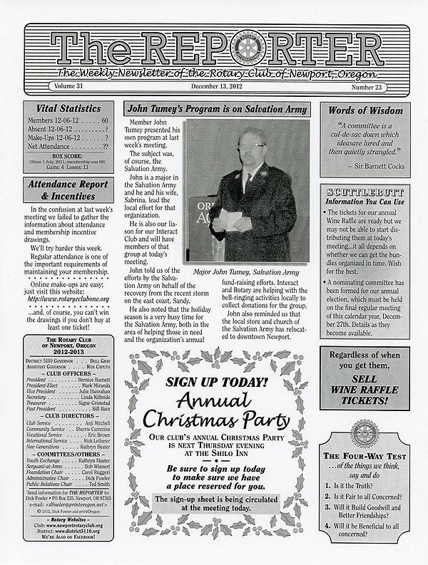 December 13, 2012 Rotary of Newport, Oregon Newsletter.