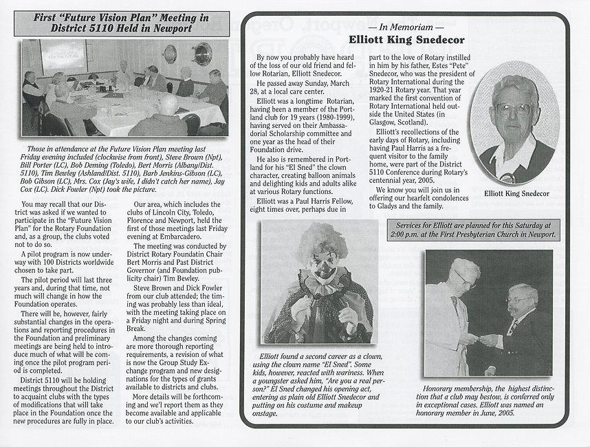Rotary of Newport, Oregon April 1, 2010 newsletter
