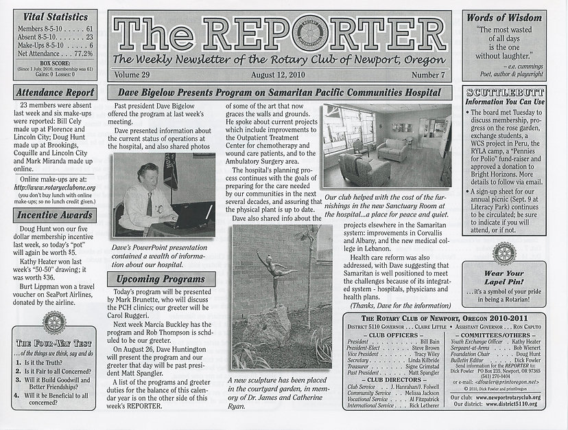 Rotary of Newport, Oregon August 12, 2010 newsletter