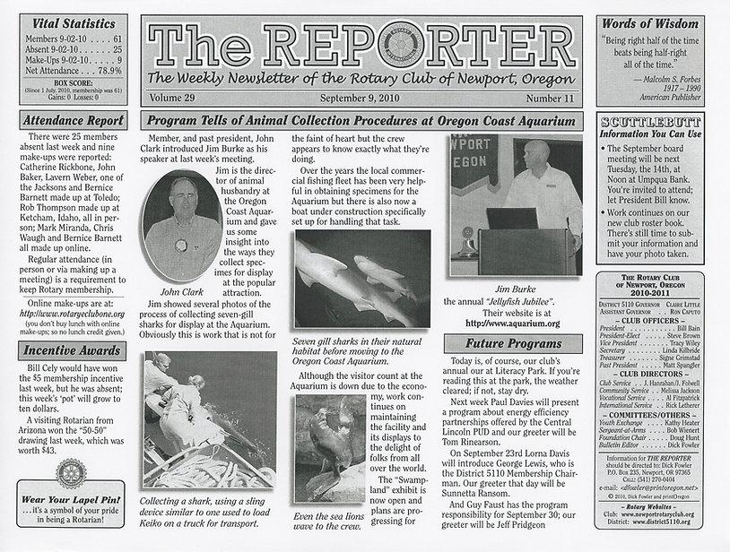 Rotary of Newport, Oregon September 9, 2010 newsletter