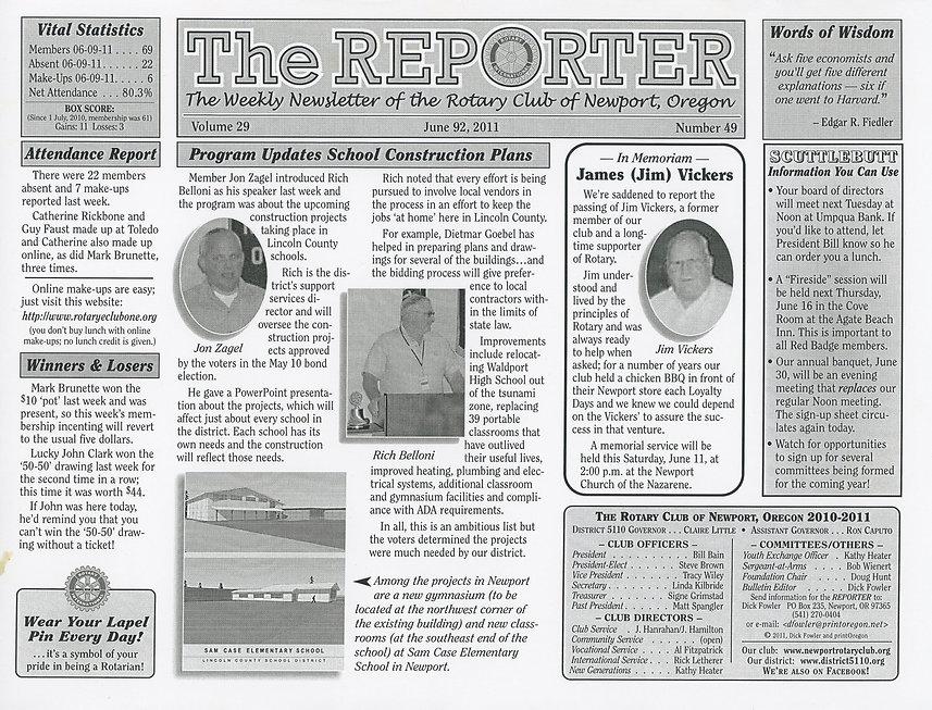 Rotary of Newport, Oregon June 9, 2011 newsletter