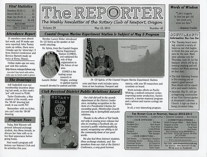 Rotary of Newport, Oregon May 12, 2011 newsletter
