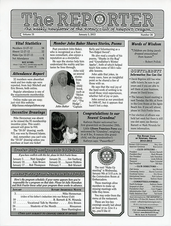 January 3, 2013 Rotary of Newport Newsletter