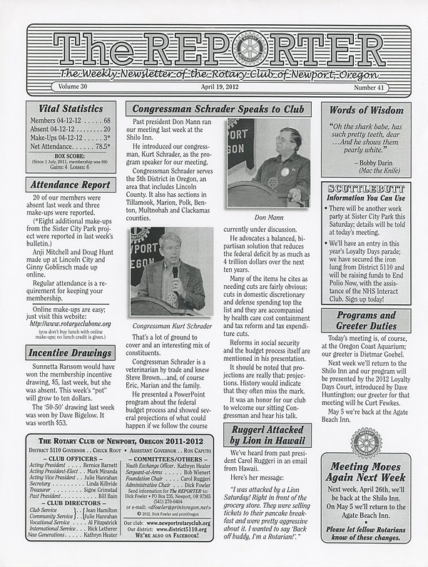 April 19, 2012 Rotary of Newport, Oregon Newsletter