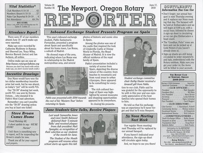 Rotary of Newport, Oregon June 17, 2010 newsletter