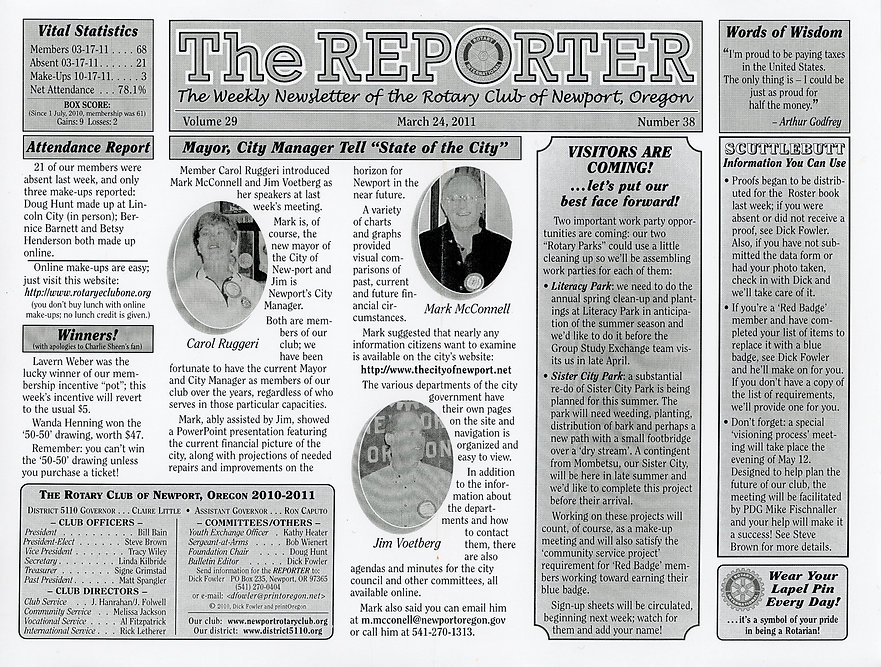 Rotary of Newport, Oregon Newsletter- March 24, 2011