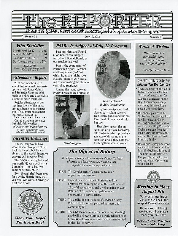 July 19, 2012 Rotary of Newport, Oregon Newsletter.