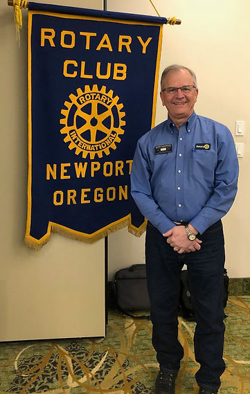 Gerry Kosanovic, President of the Rotary Club of Greater Corvallis visited the Rotary of Newport, Oregon meeting on March 12, 2020.