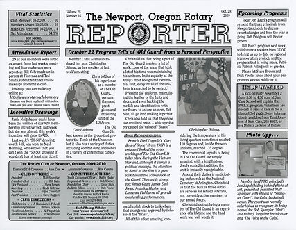 Rotary of Newport, Oregon October 29, 2009 newsletter