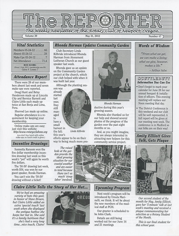 May 31, 2012 Rotary of Newport, Oregon Newsletter