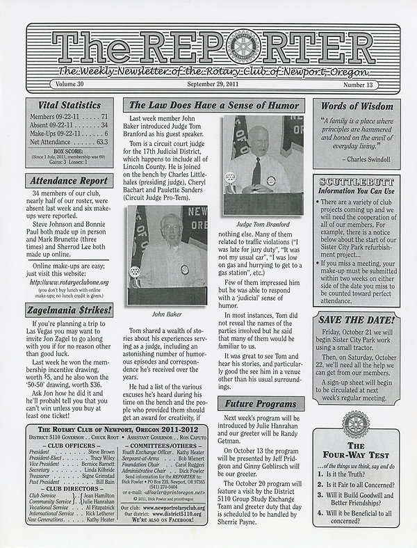 Rotary of Newport, Oregon September 29, 2011 newsletter