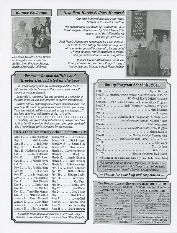 Rotary of Newport, Oregon August 25, 2011 newsletter