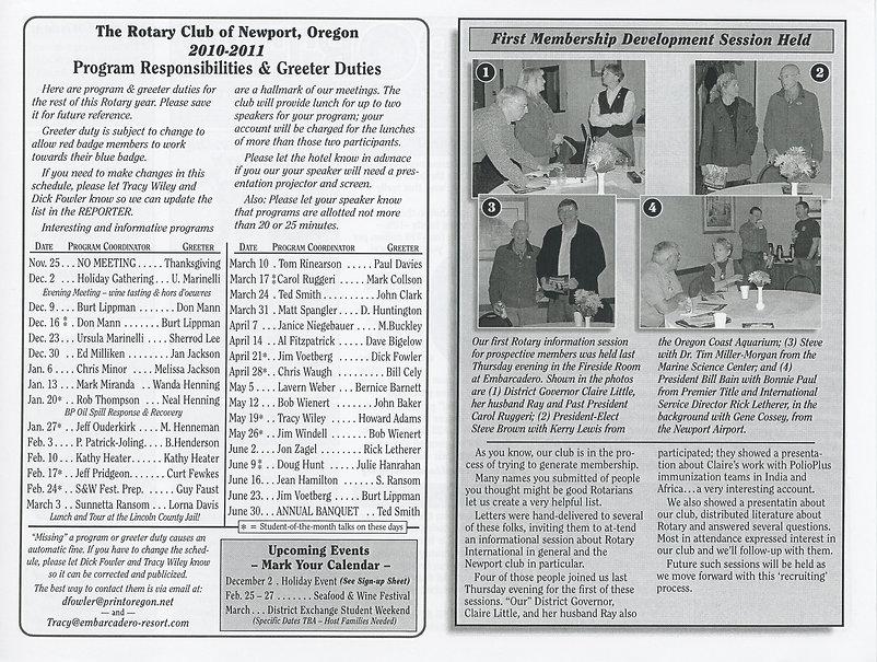 Rotary of Newport, Oregon November 18, 2010 newsletter