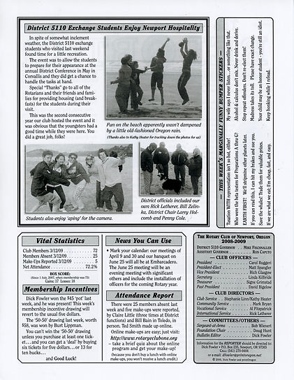 Rotary of Newport, Oregon March 19, 2009 newsletter