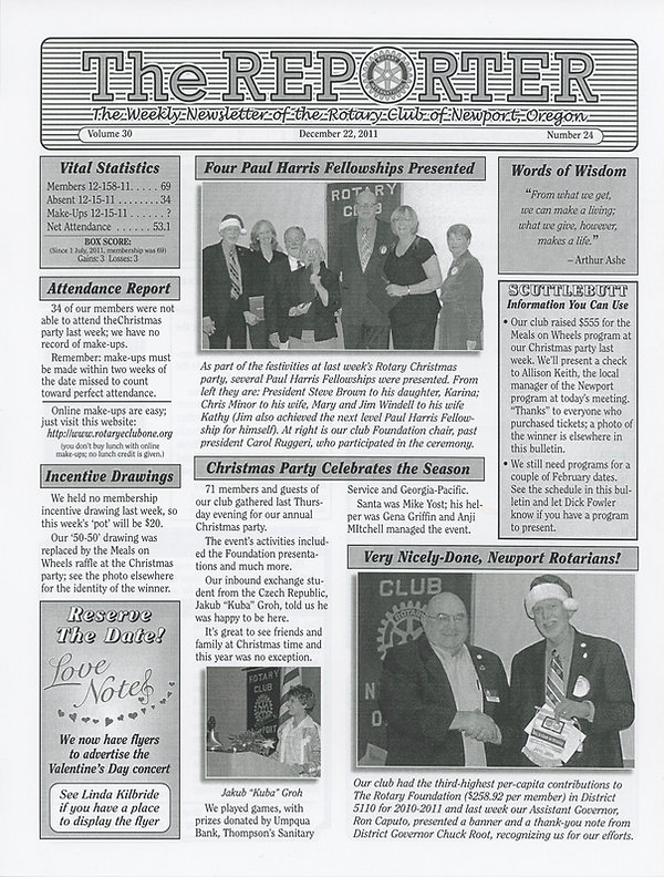 Rotary of Newport, Oregon December 22, 2011 newsletter