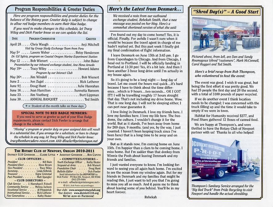 Rotary of Newport, Oregon April 28, 2011 newsletter