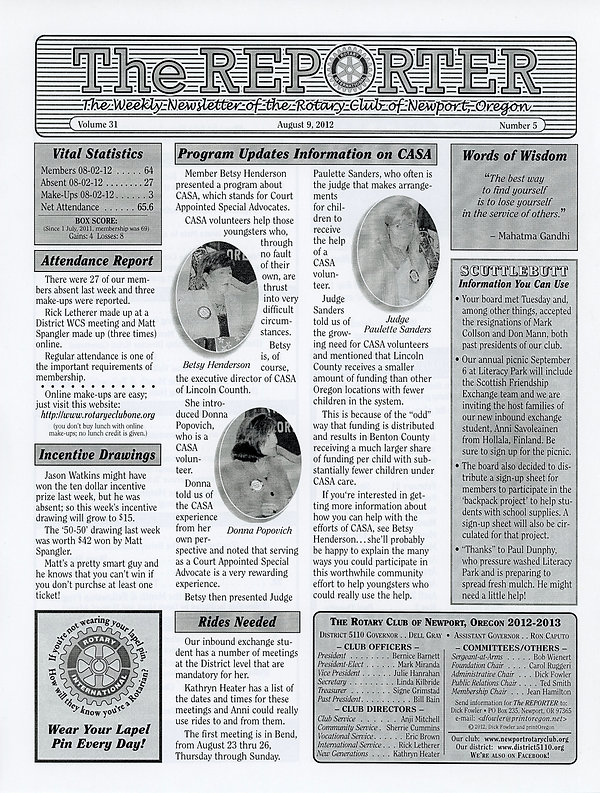 August 9, 2012 Rotary of Newport, Oregon Newsletter.